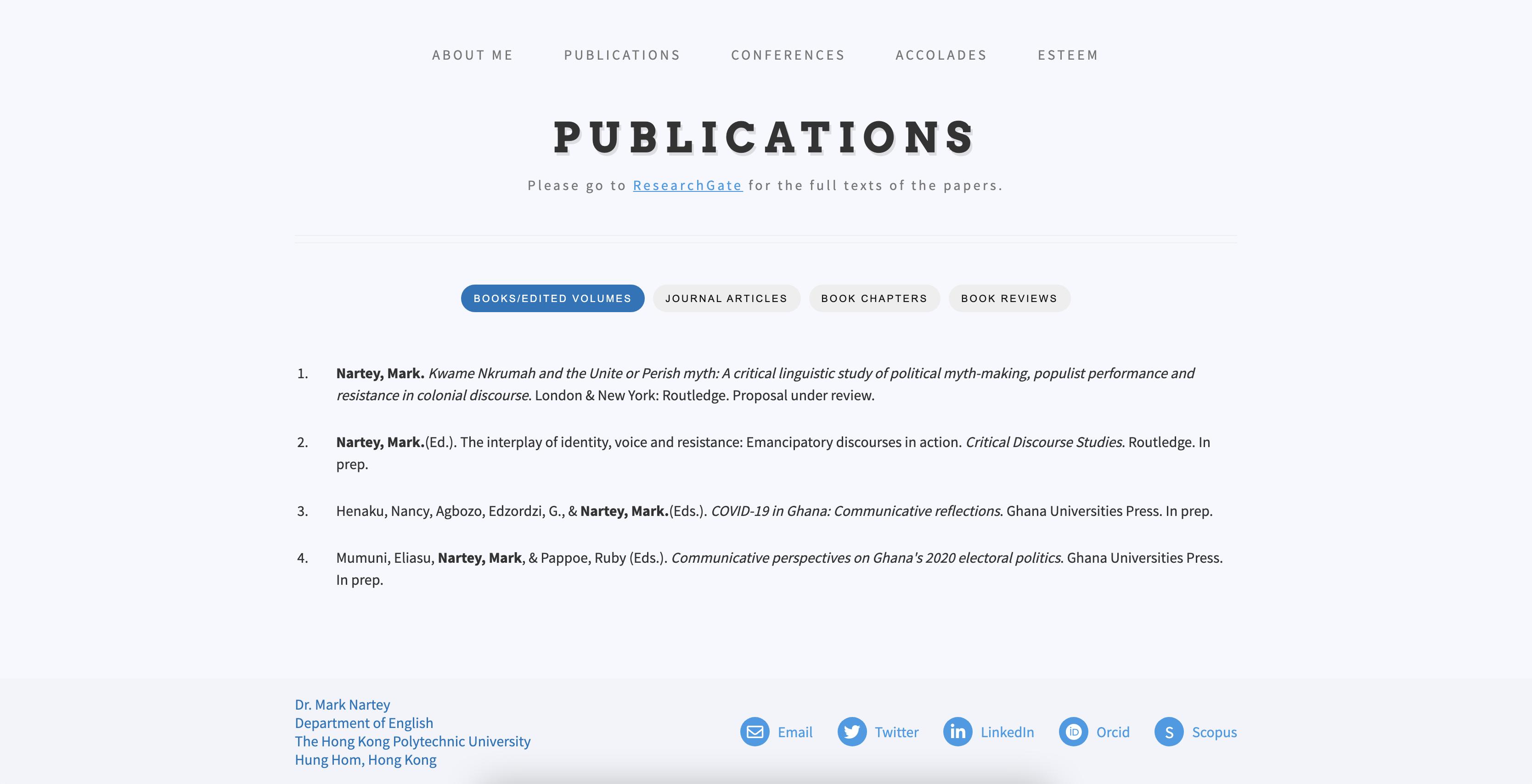 An academic portfolio for Mark Nartey