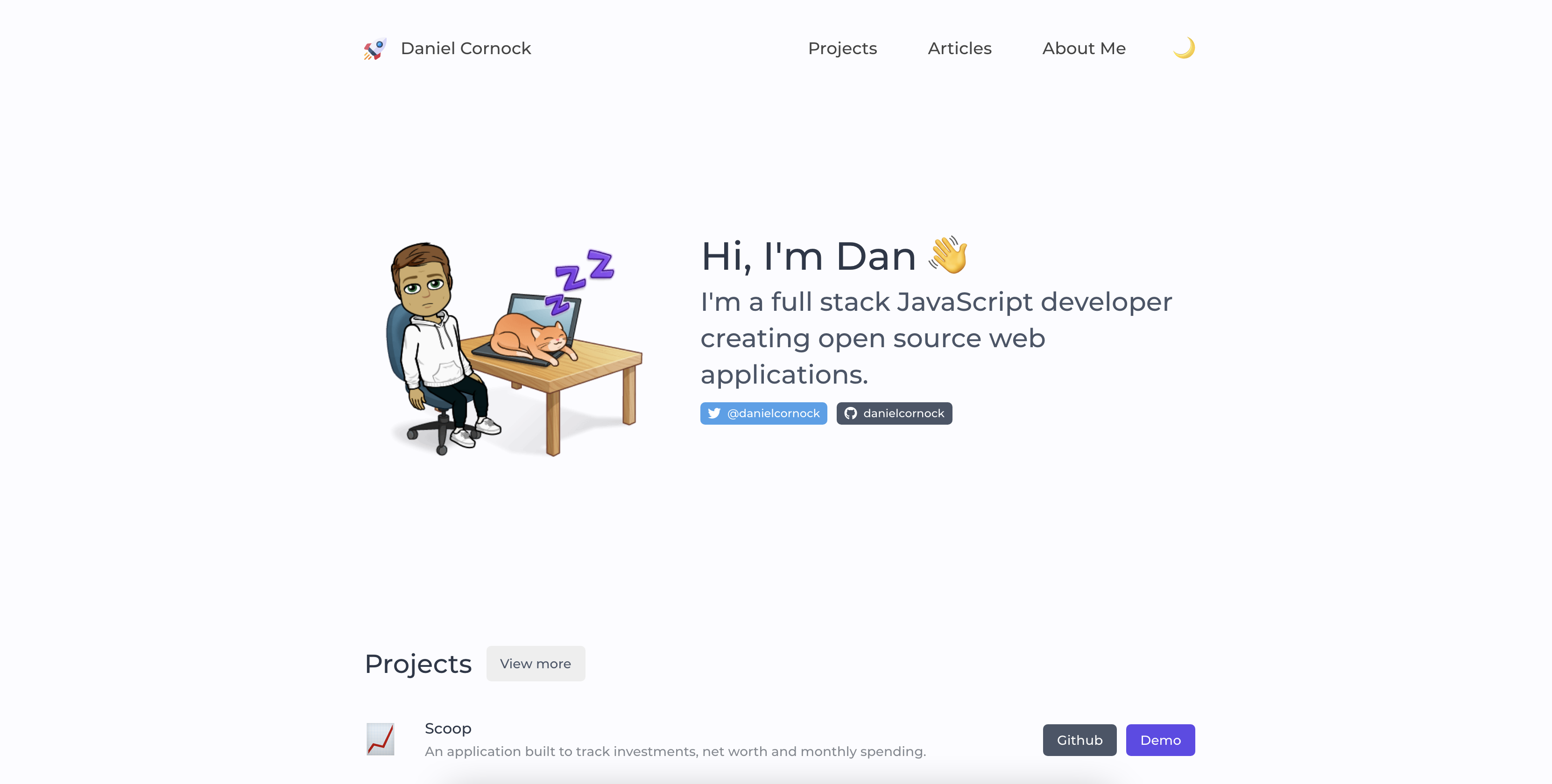 Home page of my personal portfolio