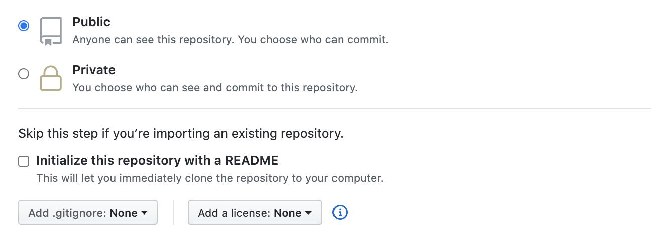The repo creation screen on GitHub.